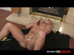 Blonde screams and writhes in orgasm