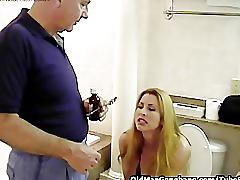 Old men double fuck sexy gal