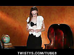 Sexy office secretary strips out of her pencil skirt to masturbate