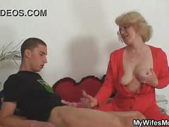 Mom-in-law rides him and wife comes in