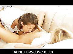 lesbian, blonde, brunette, petite, small-tits, shaved-pussy, girl-girl, girls-kissing, pussy-licking, sara-jaymes, sara-james, april-oneil, nubilefilms