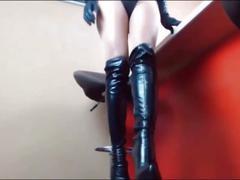 Femdom in thigh high boots fetish heels
