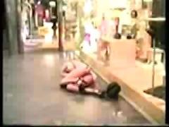 Drunk blonde fucked in front of shop window
