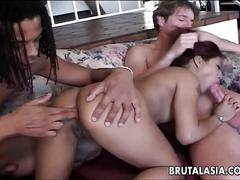 Asian babe gets viciously gangbanged and creamed