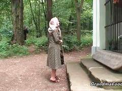 Granny gets tied and fucked by two young studs