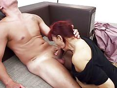 big ass, mature, redhead, blowjob, pussy licking, couch, riding cock, ball sucking, mature nl, evita s.