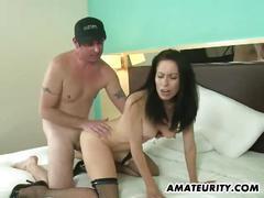 Bosomy amateur milf stiff dick on her pussy hole