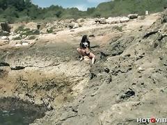 Brunette latina lara tinelli masturbates outdoors