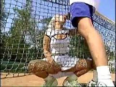 Teen playing anal tennis