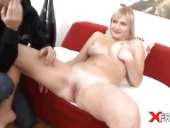 Busty blonde slut gets her cunt blasted very hard