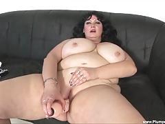 Dark haired bbw getting pussy hard fucked