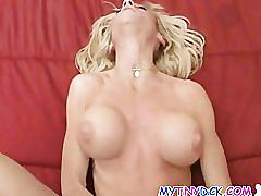 Slutty blonde sucking in the hotel room