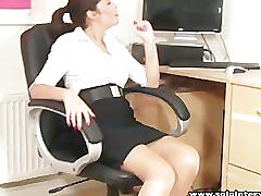 Solointerviews hot ass office girl ava striptease masturbates