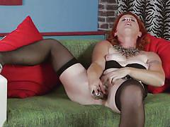 mature, redhead, solo, masturbation, stockings, dildo, couch, moaning, mature nl, evetta