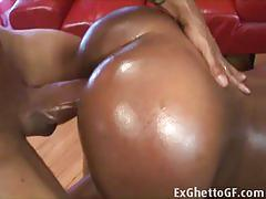 Big ass ebony babe gets fucked hard by white cock
