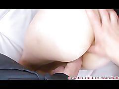Asian beauty fucked hard eats cum off fingers