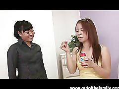 Asian mother and daughter blowjob lesson