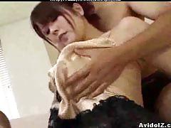 Busty japanese girl  gets banged by 2 horny men asian cumshots asian swallow japanese chinese