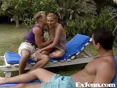 hardcore, german, outdoor, group, threesomes, forest, blonde, biki