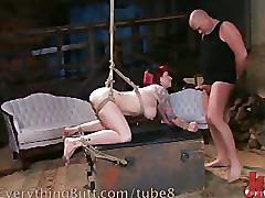 Bondage babe's ass takes it all