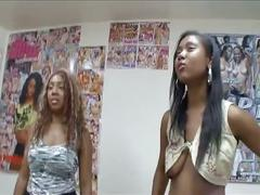 Ebony amateurs have interracial threesome