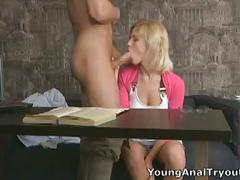 Teen blonde cutie shelly introduced to ass fucking