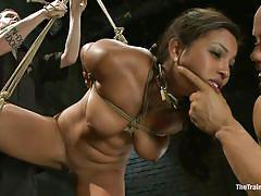 bondage, bdsm, hanging, small cock, natural tits, tied up, brunette milf, bald guy, ropes, muscled guy, adrianna luna, derrick pierce, the training of o, kinky dollars
