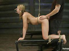 Thin fragile blonde fucked and punished hard
