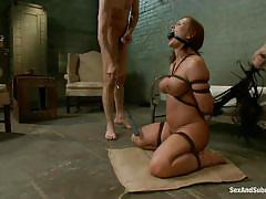 threesome, bondage, bdsm, busty, bubble butt, mouth fuck, from behind, submission, riding cock, brunette milf, ropes, katja kassin, steve holmes, mark davis, sex and submission, kinky dollars