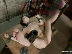 small tits, bondage, bdsm, round ass, slap, from behind, collar, chained, brunette milf, ball gag, nacho vidal, mr. pete, remy lacroix, sex and submission, kinky dollars