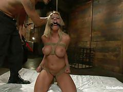 bondage, bdsm, torture, big boobs, gagging, tied up, blonde babe, mouth opened, clamps on nipples, hardcore blowjob, charisma cappelli, mr. pete, sex and submission, kinky dollars