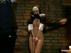 threesome, bdsm, whipping, pov blowjob, punishment, bubble butt, tied up, anal plug, france brunette, nun, angell summers, james deen, danny wylde, sex and submission, kinky dollars