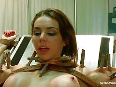 bdsm, moaning, submission, brunette milf, sexy breasts, ball gag, clothespins, gynecologist table, leather belts, tied on table, tiffany tyler, james deen, sex and submission, kinky dollars