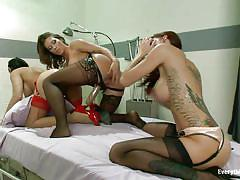 Lesbian threesome with sex toys
