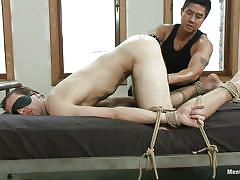 Tied gay getting his anus filled