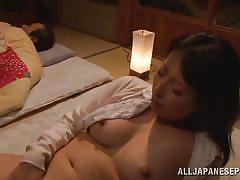 Japanese mature burning with sexual desires jerks off