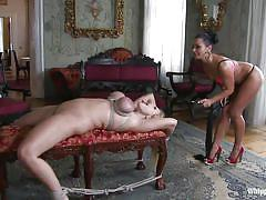 milf, blonde, bdsm, lesbians, spanking, whipping, big boobs, brunette, tied up, hispanic, squeezed tits, whipped ass, kink, angel wicky, sandra romain