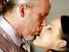 babe, old man, office, kissing, desk, natural tits, pussy eating, black hair, sweet sinner, katie st. ives, tom byron