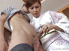 Mature japanese lady licks her lover's nipples