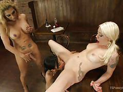 milf, tattoo, blonde, threesome, shemale, round ass, blowjob, pussy licking, brunette, bouncing tits, on table, ts pussy hunters, kink, ts jessy dubai, beretta james, lorelei lee