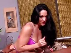 Woman in bra and panty gives handjob (pantylover)