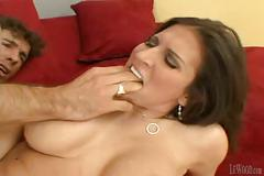 Hot brunette milf sucks and fucks