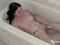 Pierced horny babe frankie masturbating her pussy.