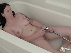 tattoo, cum, masturbation, solo, water, orgasm, shower, climax, amateur, pierced nipples, cumming