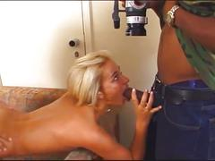 Huge black and white cocks fuck horny blonde slut