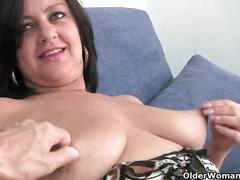 British soccer mom abigale with her big tits gets fingered