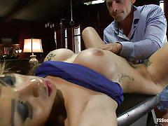 Pretty shemale fucking her boy in the mouth and ass