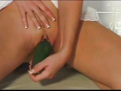 Filthy white haired slut playing cucumber in cunt