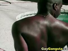 Big black cocks meet up in outdoor fuck