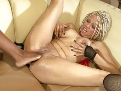 Threesome with an ebony milf and hot blonde friend